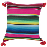 Multi-Color Striped Pom Pom Pillow Cover