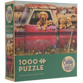 Golden Retrievers In Red Truck Puzzle