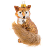 Glittered Fox With Furry Tail Ornament