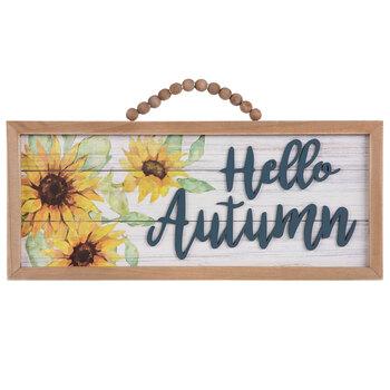 Hello Autumn Sunflower Wood Wall Decor