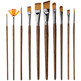 Brown Taklon Acrylic & Watercolor Paint Brushes - 10 Piece Set