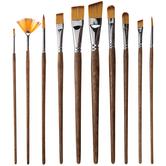Brown Taklon Acrylic & Watercolor Paint Brushes - 10 Piece Set