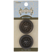 Carved Wood Round Buttons - 28mm