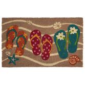Flip Flops In Sand Coir Doormat