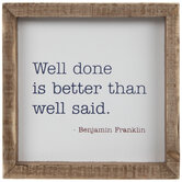 Benjamin Franklin Quote Wood Decor