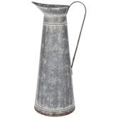Whitewash Galvanized Metal Pitcher