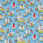 Lighthouses & Sailboats Cotton Calico Fabric
