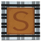 Plaid & Leather Letter Wood Wall Decor - S