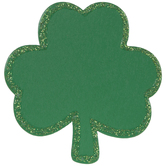 Green Glitter Wood Shamrocks