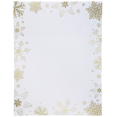 """Gold Foil Snowflakes Stationery - 8 1/2"""" x 11"""""""