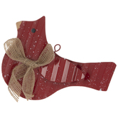 Red Bird With Jute Bow Ornament