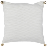 White Knit Pillow With Jingle Bells