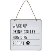 Drink Coffee Hug Dog Metal Wall Decor