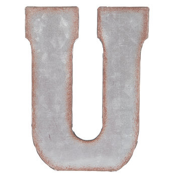 Galvanized Metal Letter Wall Decor - U