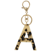 Leopard Print Letter Keychain - A