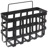 Black Distressed Metal Wall Basket