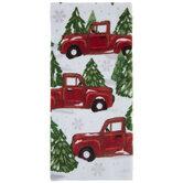 Snowy Truck & Pine Trees Kitchen Towel