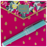 Pink Floral Notepad & Pen