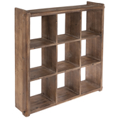 Brown Square Four-Tiered Wood Wall Shelf