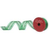 "Green Glitter Polka Dot Wired Edge Ribbon - 1 1/2"""