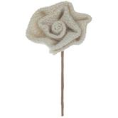 Ivory Burlap Rose Pick