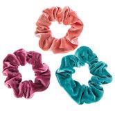 Mauve, Coral & Teal Velvet Scrunchies
