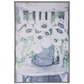 White & Blue Floral Canvas Wall Decor