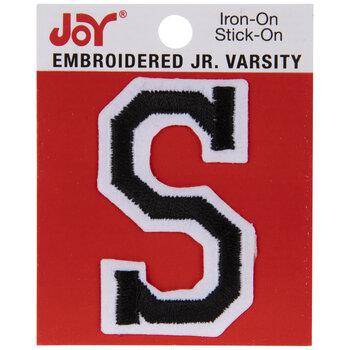 "Black Junior Varsity Letter Iron-On Applique S - 2"""