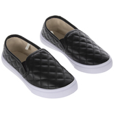 Black Quilted Youth Sneakers - Size 2/3
