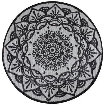White & Black Medallion Synthetic Rug