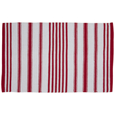 Red & White Striped Rug