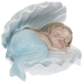 Sleeping Baby Mermaid In White Seashell