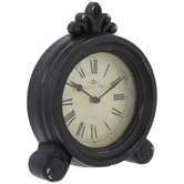 Black Rubbed Round Wood Clock
