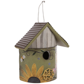 Sunflower Wood Birdhouse With Faucet Knob