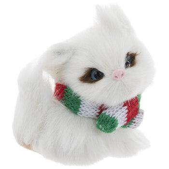 White Kitten Wearing Scarf Ornament
