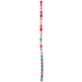 Turquoise, Pink & Orange Marble Glass Bead Strand