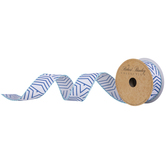 Blue Aztec Stripes Wired Edge Ribbon - 1 1/2""