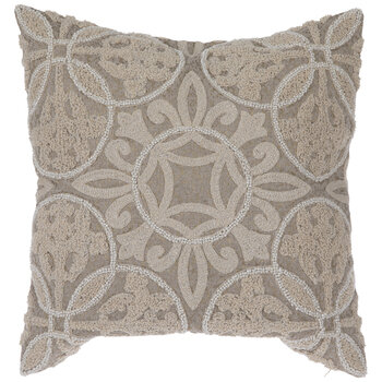 Beige Bead Embroidered Pillow Cover