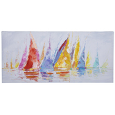 Multi-Color Sailboats Canvas Wall Decor