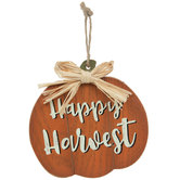Happy Harvest Wood Pumpkin Ornament