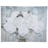 White Roses Canvas Wall Decor