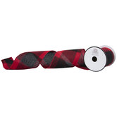 "Red & Black Buffalo Check Felt Wired Edge Ribbon - 4"""