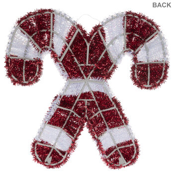 Red & White Tinsel Candy Canes Wall Decor