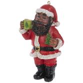 Santa & Coffee Ornament
