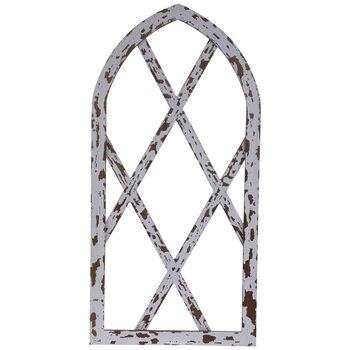 Chippy White Arched Wood Wall Decor