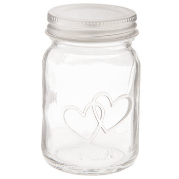 Double Heart Glass Mason Jars