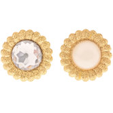 Gold Rhinestone & Pearl Brads - Small
