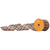 "Orange & Brown Plaid Wired Edge Ribbon - 2 1/2"""