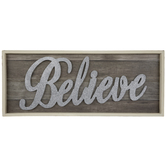 Believe Glitter Wood Wall Decor
