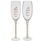 Gold Mr & Mrs Toasting Glasses